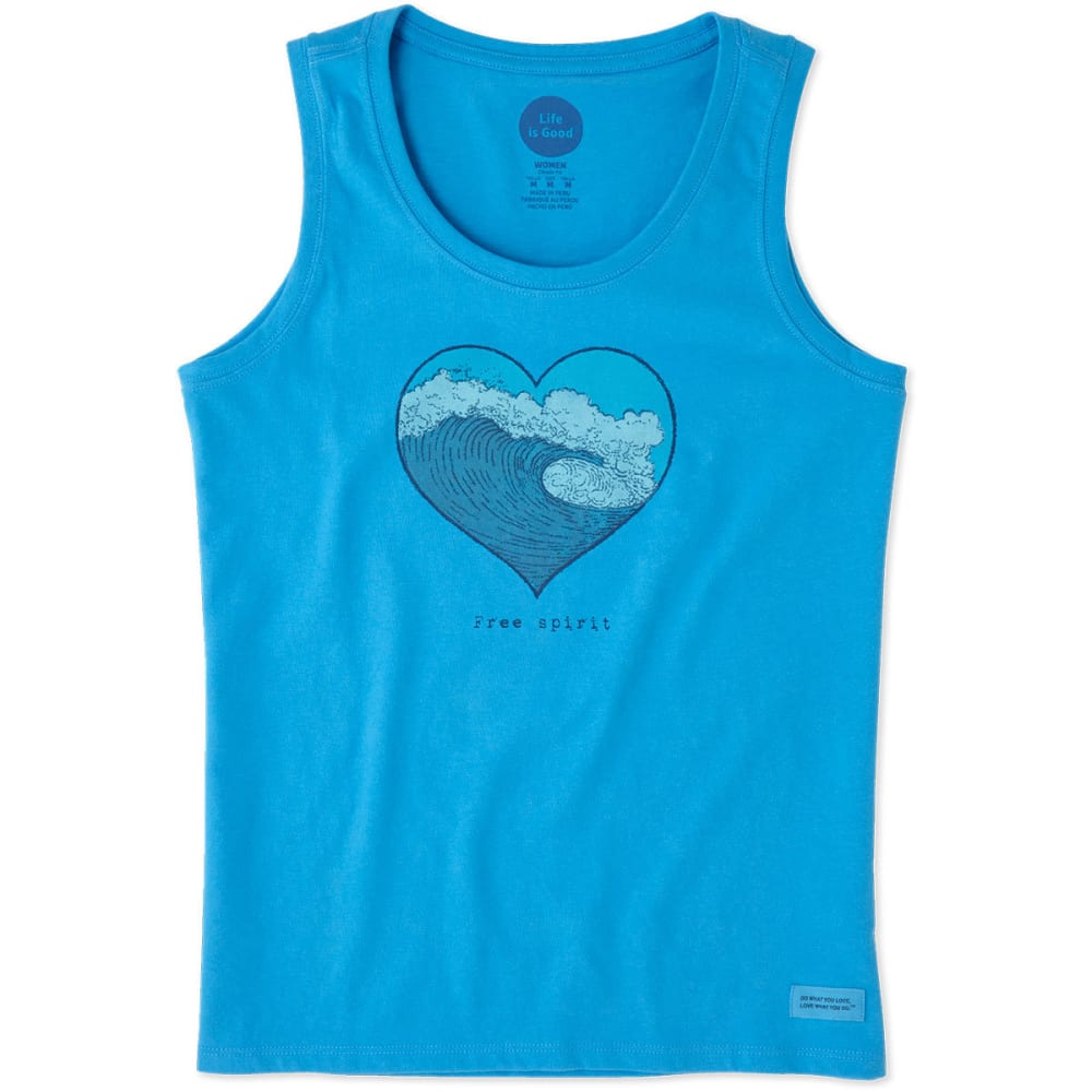 LIFE IS GOOD Women's Free Spirit Sleeveless Crusher Scoop Tank Top - TILE BLUE