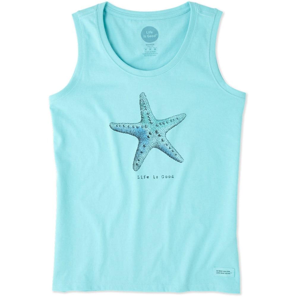LIFE IS GOOD Women's Starfish Sleeveless Crusher Scoop Tank Top - FRESH BLUE