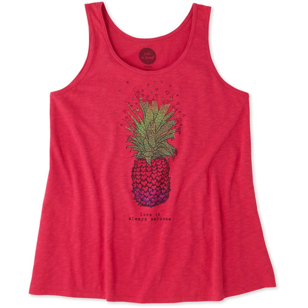 LIFE IS GOOD Women's Welcome Pineapple Breezy Tank Top - POP PINK