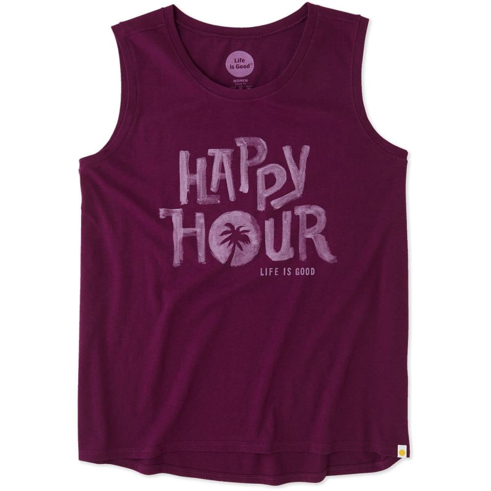 LIFE IS GOOD Women's Happy Hour Muscle Tee - DEEP PLUM