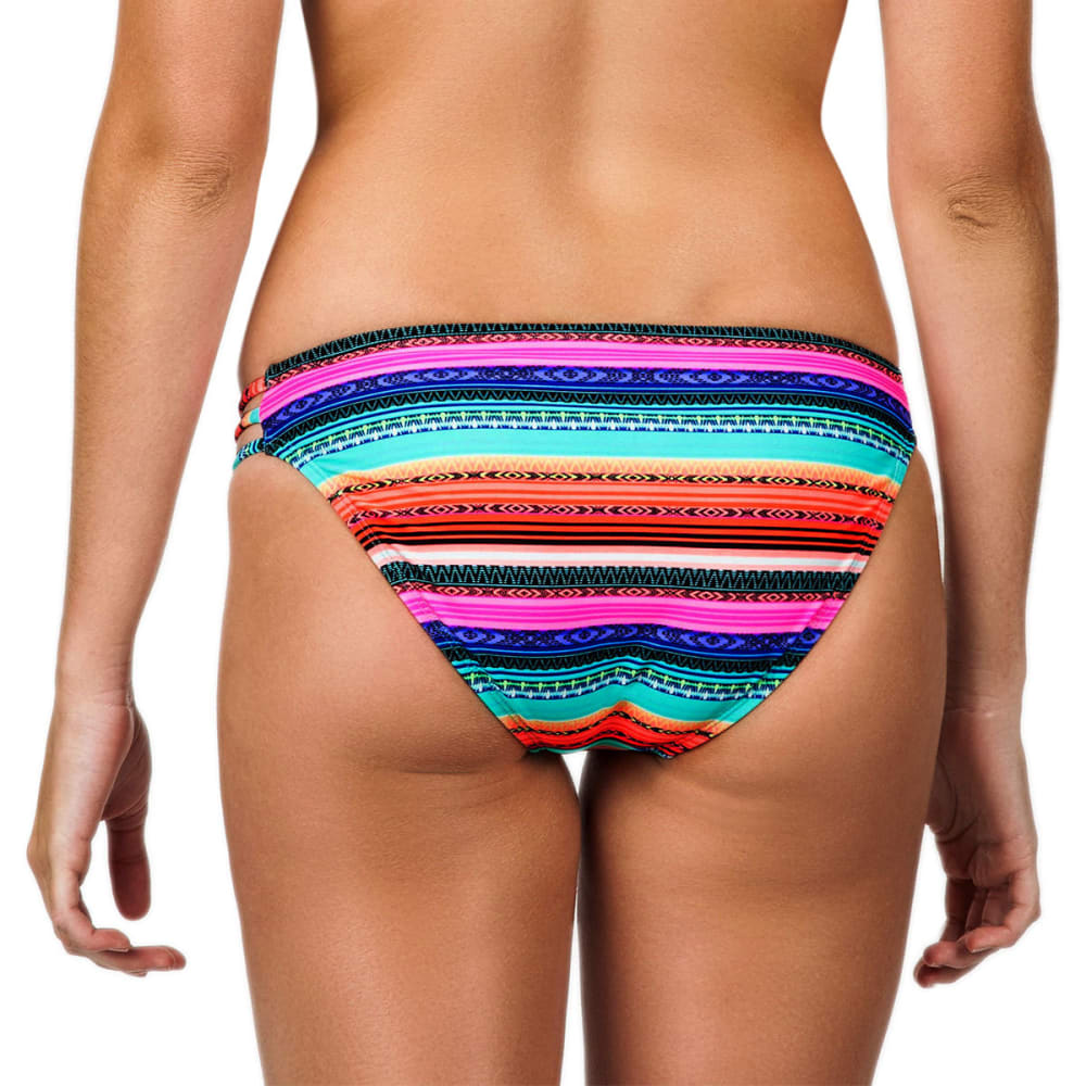 ISLAND SOUL Juniors' Cuban Blanket Strappy Bikini Bottoms - MULTI