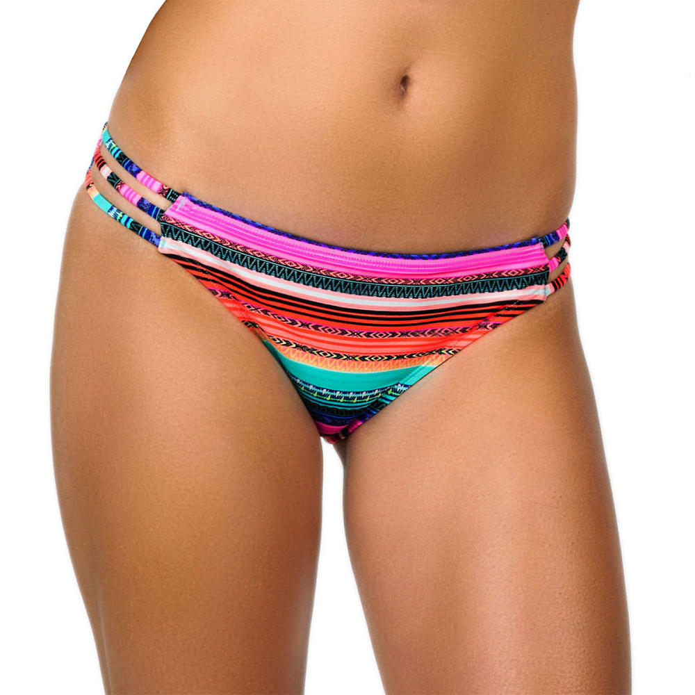 ISLAND SOUL Juniors' Cuban Blanket Strappy Bikini Bottoms - MULTI