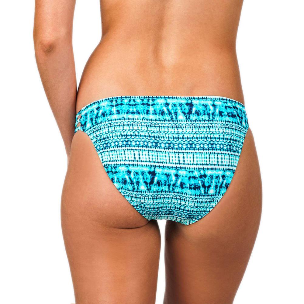 ISLAND SOUL Juniors' Shibori Tye Dye Strappy Bikini Bottoms - TURQUOISE