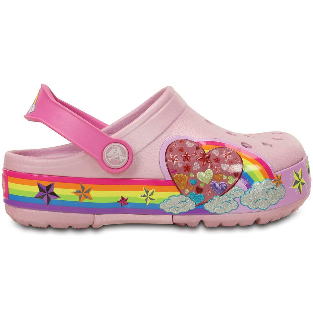 CROCS Girls' CrocsLights Rainbow Heart Clogs, Ballerina Pink - PINK