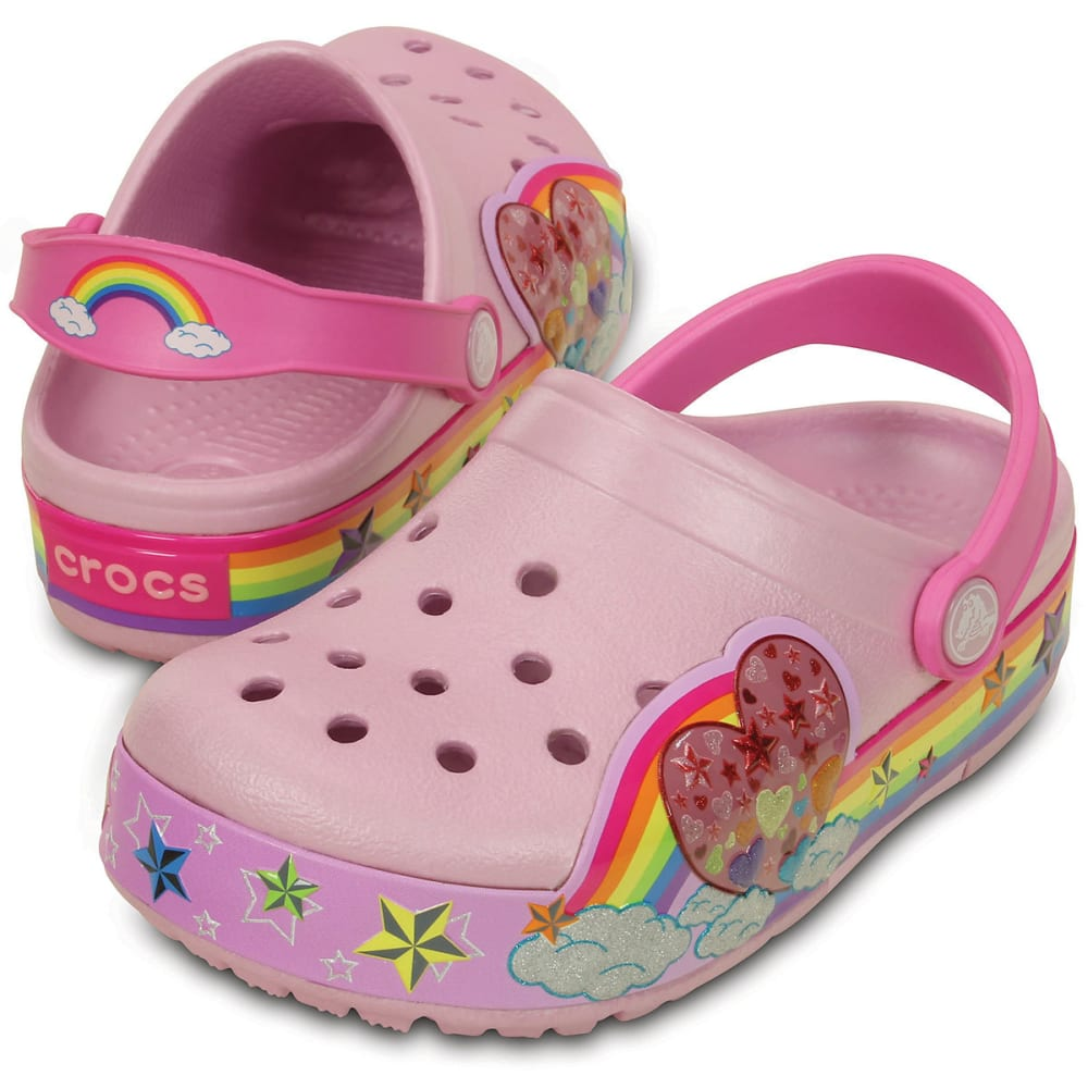 CROCS Girls' CrocsLights Rainbow Heart Clogs, Ballerina Pink - PINK