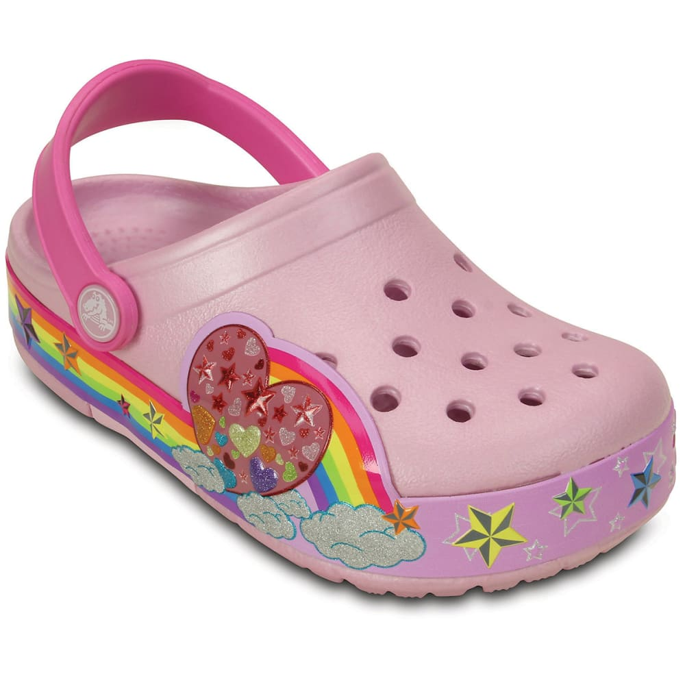 Crocs Girls Crocslights Rainbow Heart Clogs, Ballerina Pink - Red, 12