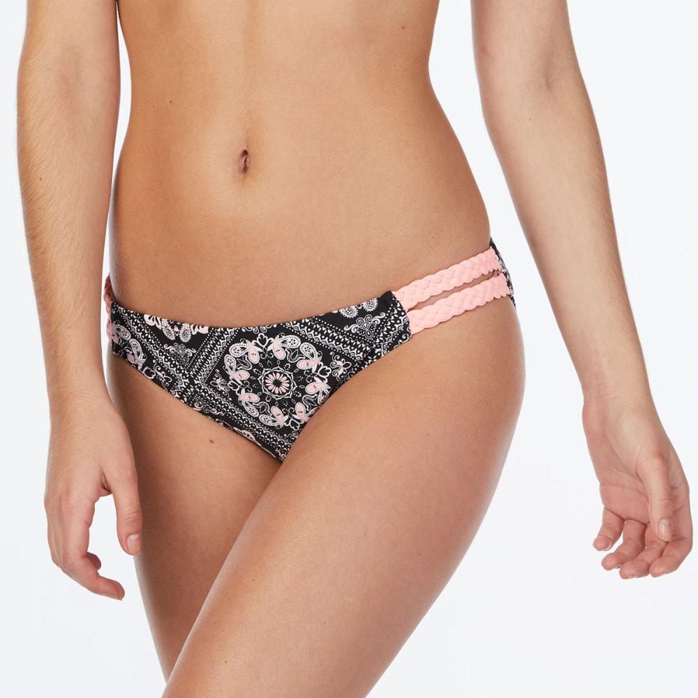 ISLAND SOUL Juniors' Bandana Tile Braided Side Bikini Bottoms - MULTI