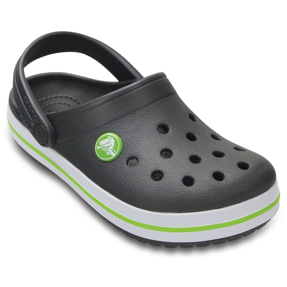 CROCS Boys' Crocband Clogs, Graphite/Volt Green - GRAPHITE/VOLT GREEN