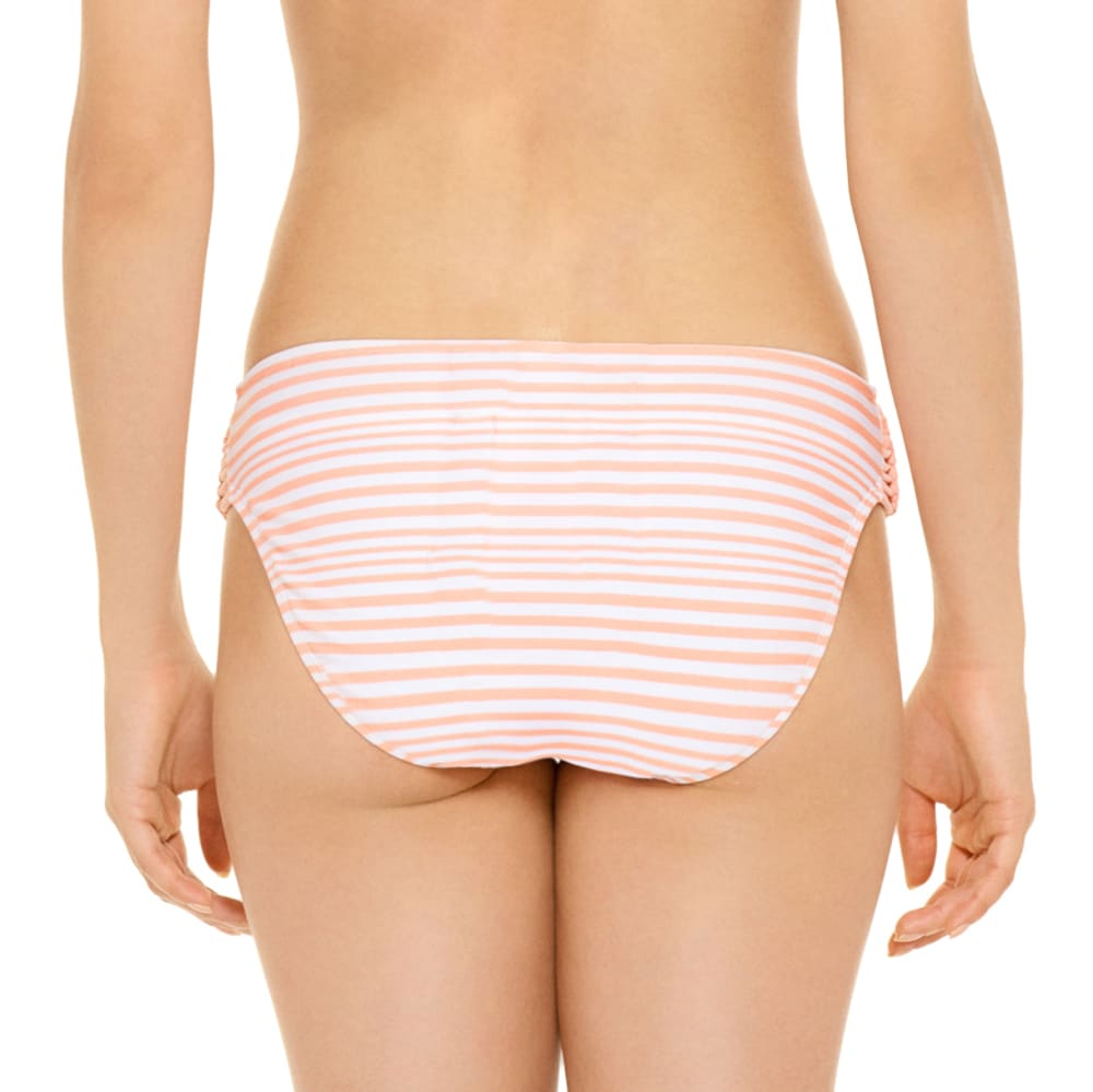 95 DEGREES Juniors' Cayman Club Macramé Side Hipster Bikini Bottoms - PEACH STRIPE