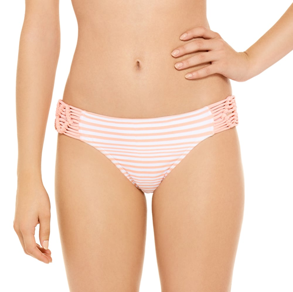 95 DEGREES Juniors' Cayman Club Macramé Side Hipster Bikini Bottoms - PEACH STRIPE