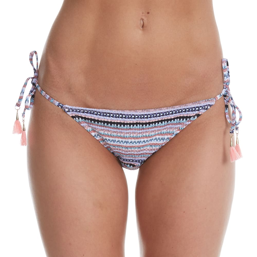 95 DEGREES Juniors' Sun-Kissed Multi-Stripe String Bikini Bottoms - PEACH MULTI