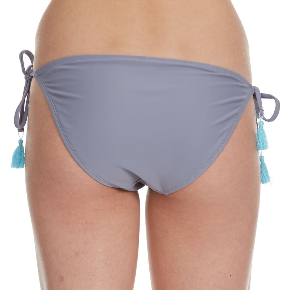 95 DEGREES Juniors' Desert Sky Tassel Bikini Bottom - PEWTER