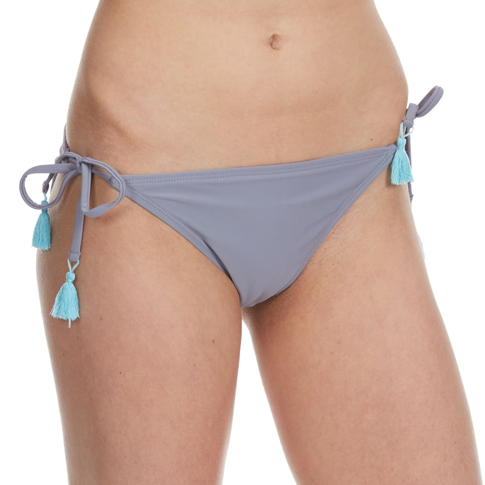 95 DEGREES Juniors' Desert Sky Tassel Bikini Bottom - PEWTER
