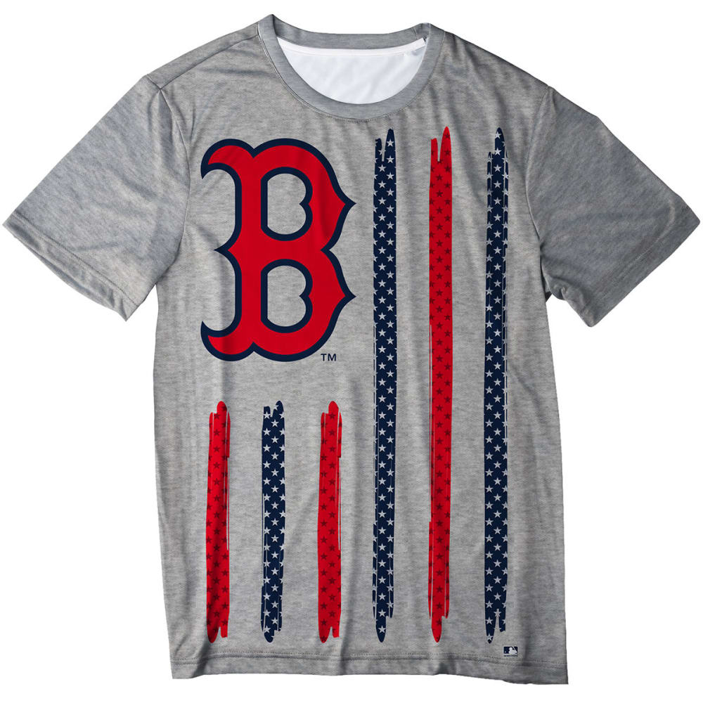 BOSTON RED SOX Men's Big Logo Stars and Stripes Short-Sleeve Tee - GREY