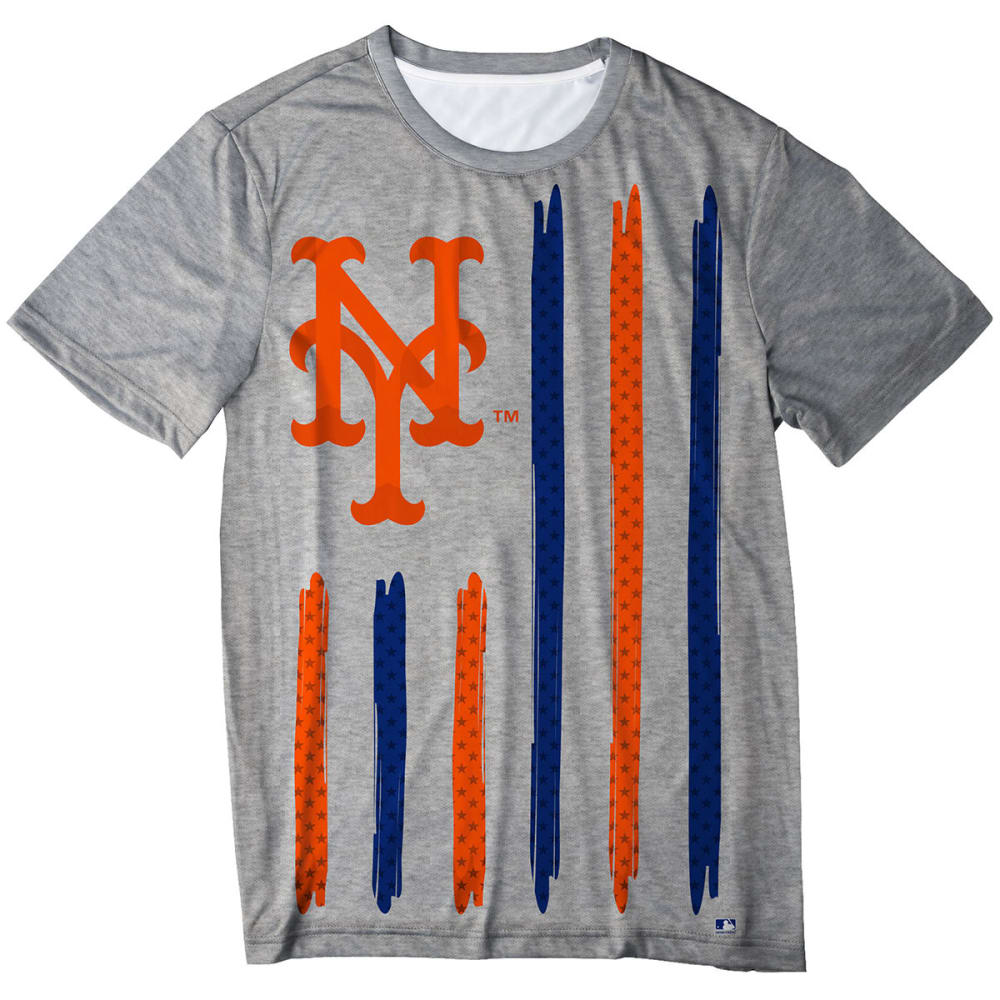 NEW YORK METS Men's Big Logo Stars and Stripes Short-Sleeve Tee - GREY