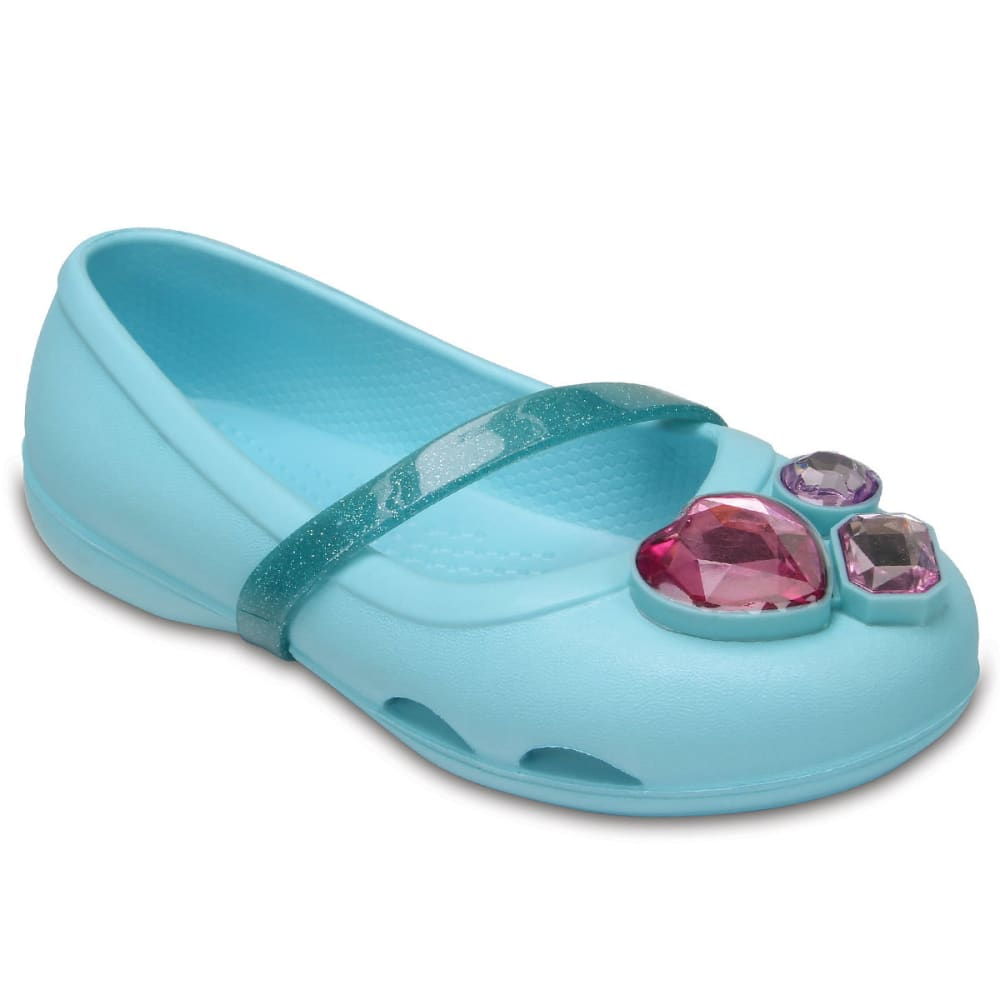 CROCS Girls' Lina Flats, Ice Blue - ICE BLUE