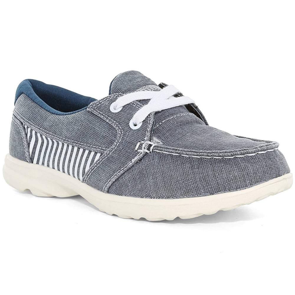 HANG TEN Women's Davenport Boat Shoes, Navy Stripe - NAVY