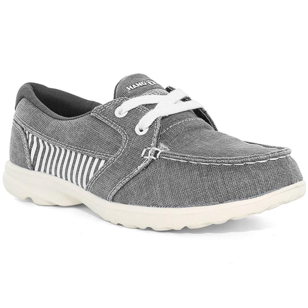 ISLAND SURF Women's Davenport Boat Shoes, Grey Stripe - GREY