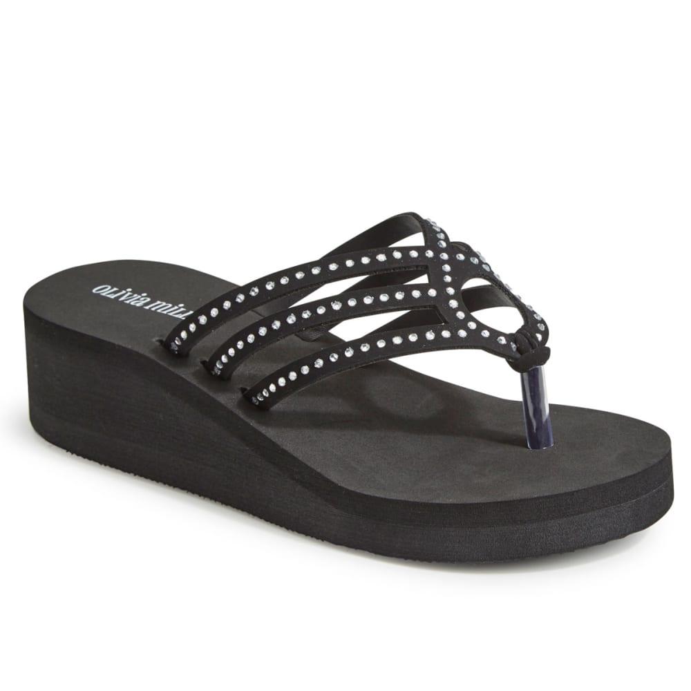 OLIVIA MILLER Women's Rhinestone Strappy Wedge Flip Flops, Black - BLACK