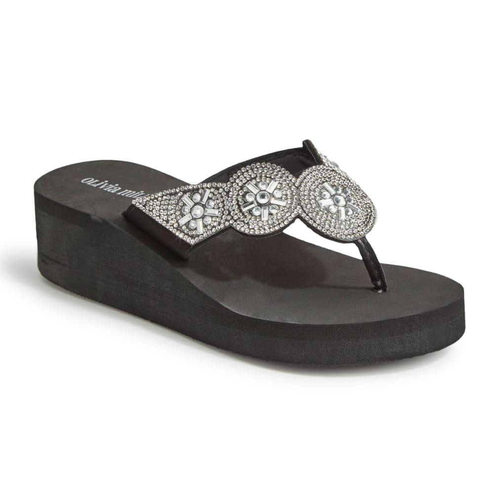 OLIVIA MILLER Women's Embellished Strap Wedge Flip Flops, Black 6