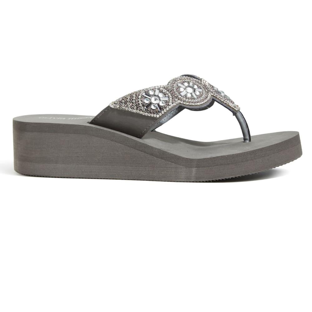 OLIVIA MILLER Women's Embellished Strap Wedge Flip Flops, Grey - GREY