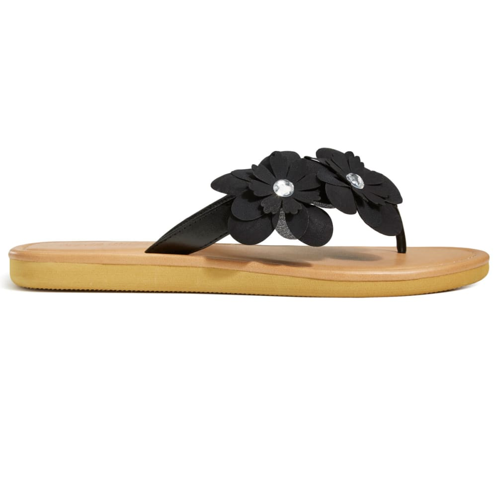 OLIVIA MILLER Women's Asymmetrical Floral Flip Flops, Black - BLACK