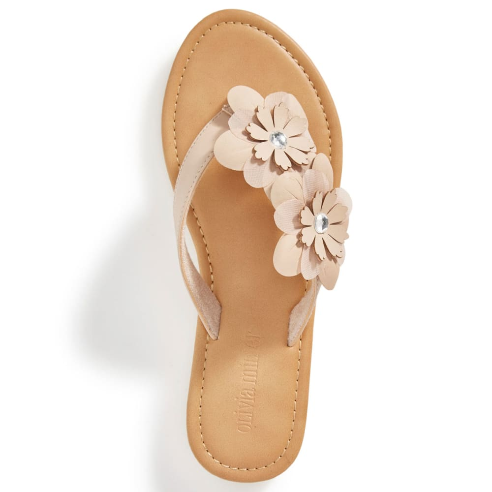 OLIVIA MILLER Women's Asymmetrical Floral Flip Flops, Natural - NATURAL