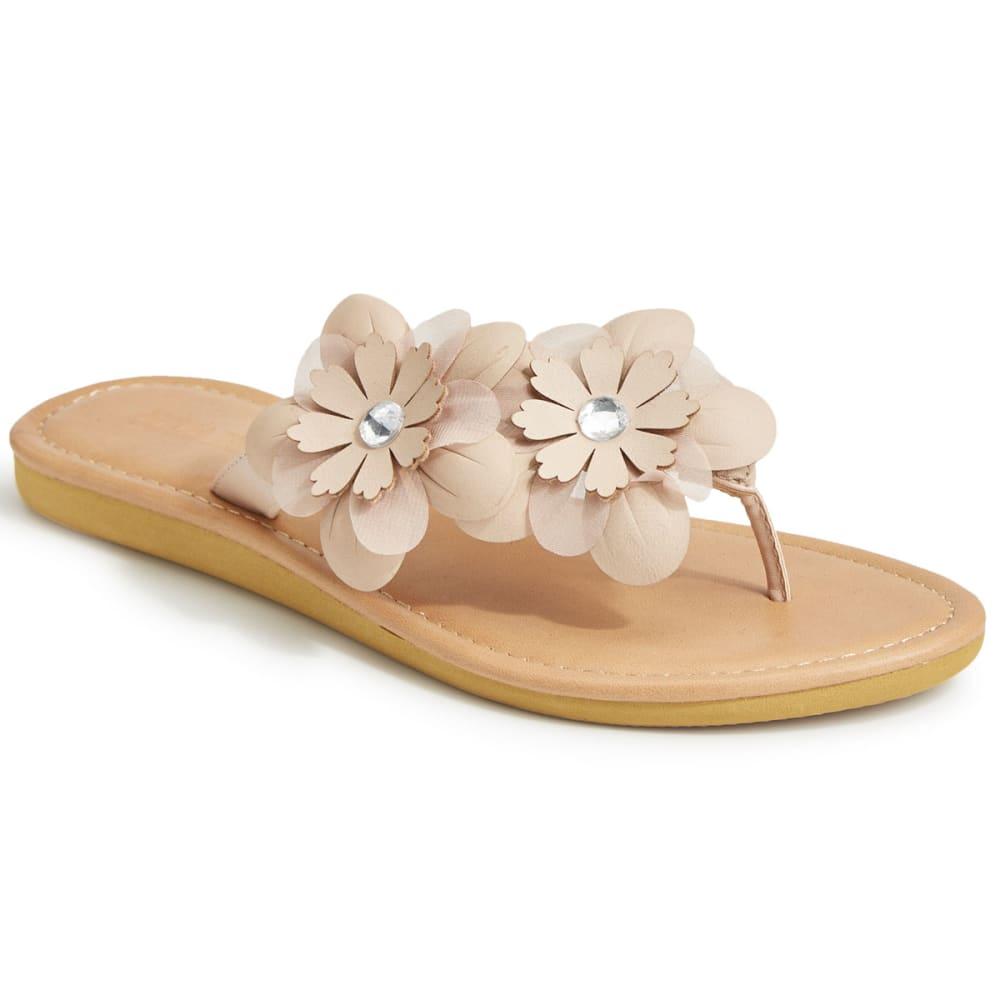 OLIVIA MILLER Women's Asymmetrical Floral Flip Flops, Natural 6