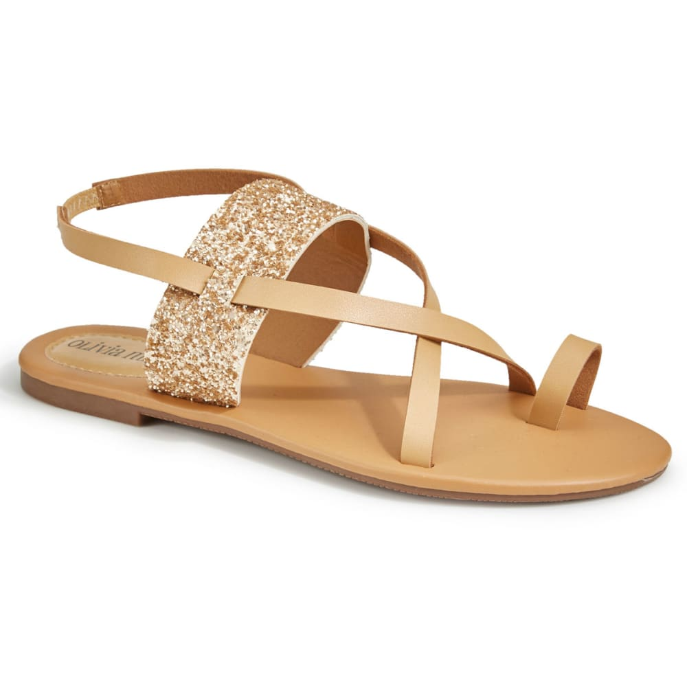 OLIVIA MILLER Women's Glitter Strappy Sandals, Rose Gold - ROSE GOLD