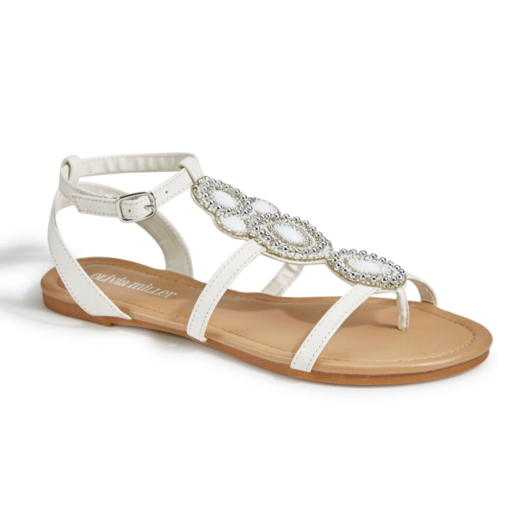 OLIVIA MILLER Women's Beaded Gladiator Sandals, White - WHITE