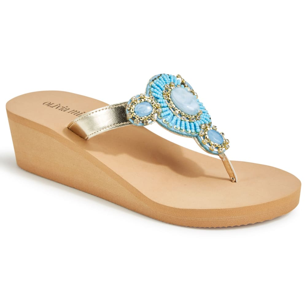 OLIVIA MILLER Women's Beaded EMB Wedge Flip Flops, Tan - TAN