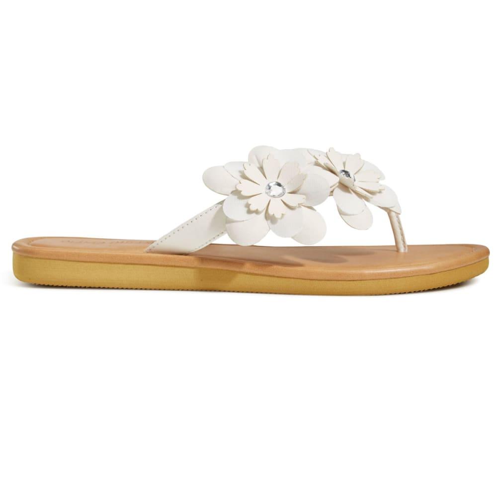 OLIVIA MILLER Women's Asymmetrical Floral Thong Sandals - WHITE