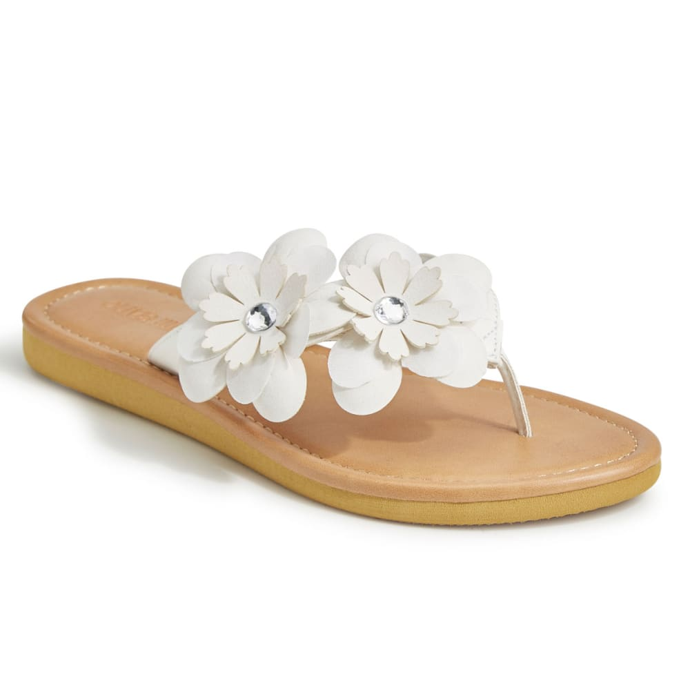 OLIVIA MILLER Women's Asymmetrical Floral Thong Sandals - WHITE