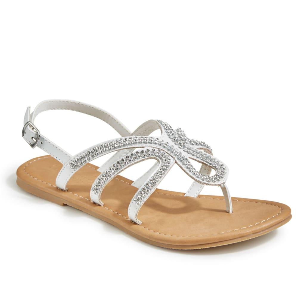 OLIVIA MILLER Women's Rhinestone Gladiator Sandals - WHITE