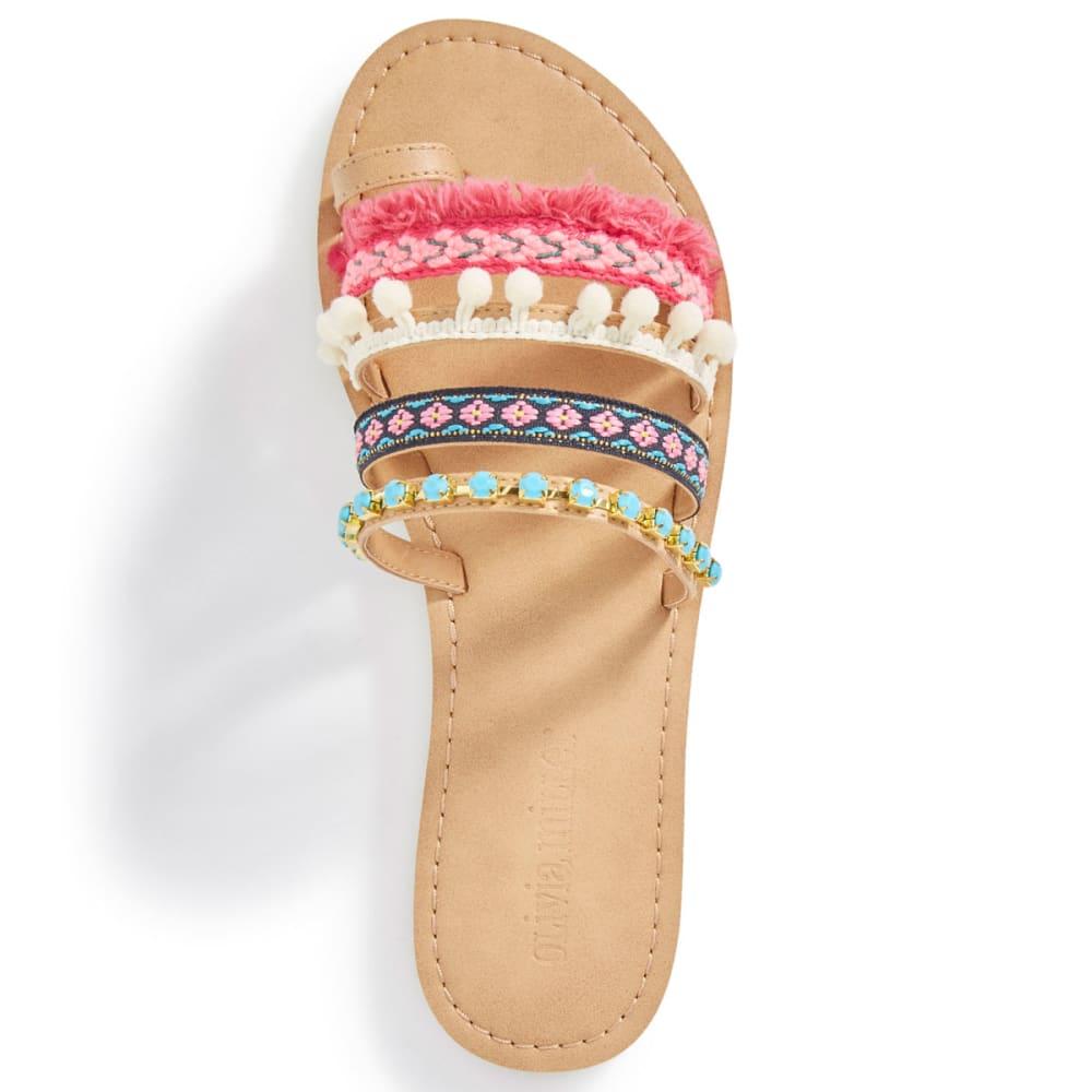 OLIVIA MILLER Women's Multicolored Pom-Pom Slide Sandals - MULTI