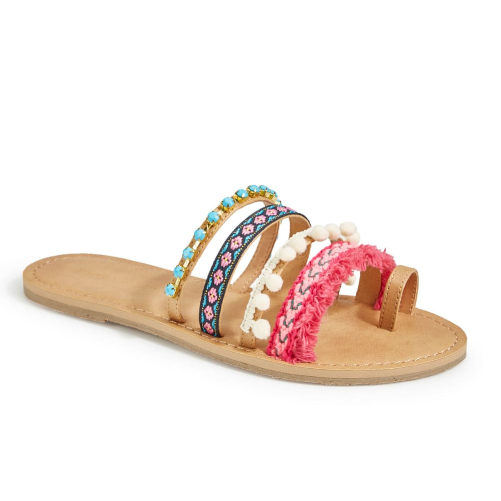 OLIVIA MILLER Women's Multicolored Pom-Pom Slide Sandals - MULTI