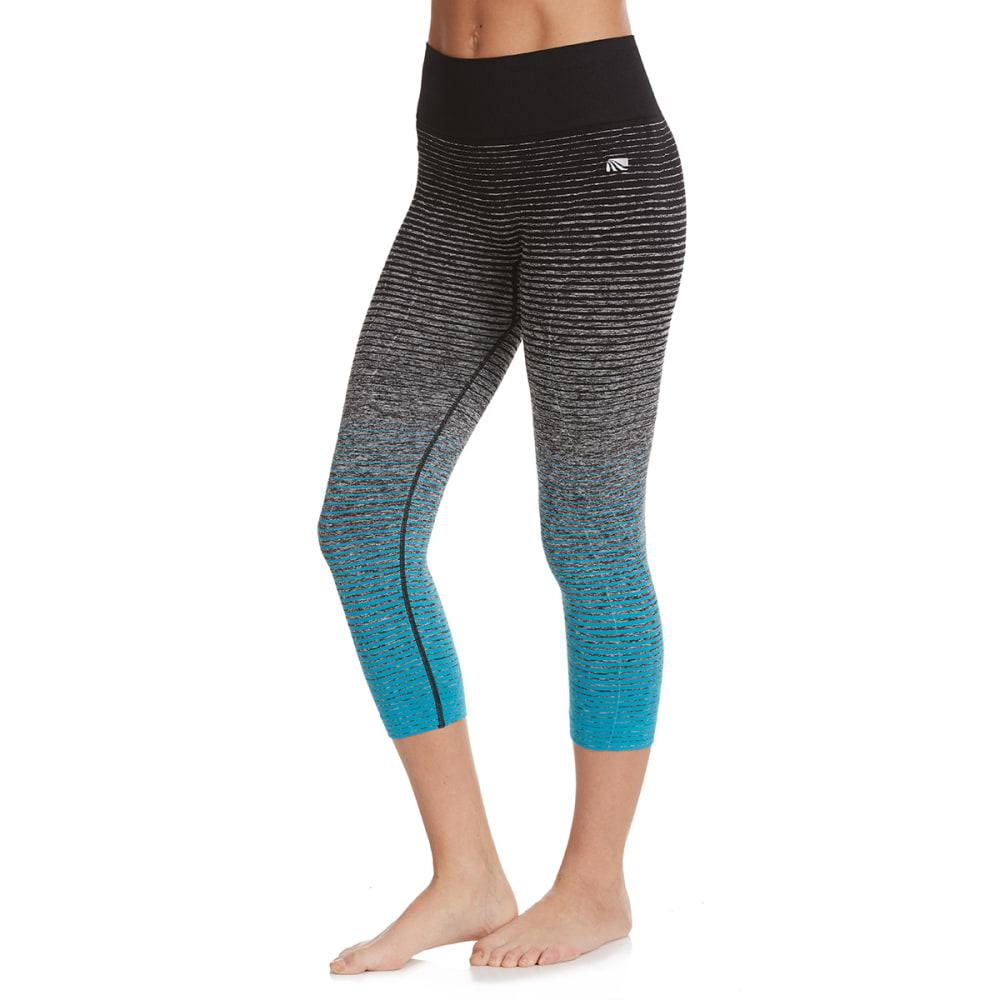 MARIKA Women's Ombre Stripe Seamless Capri Leggings - BORA BORA-4LR