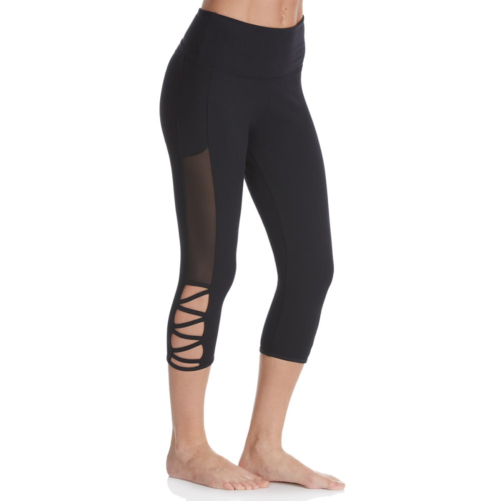 BALANCE COLLECTION BY MARIKA Women's Cross Band Capri Leggings - BLACK-001