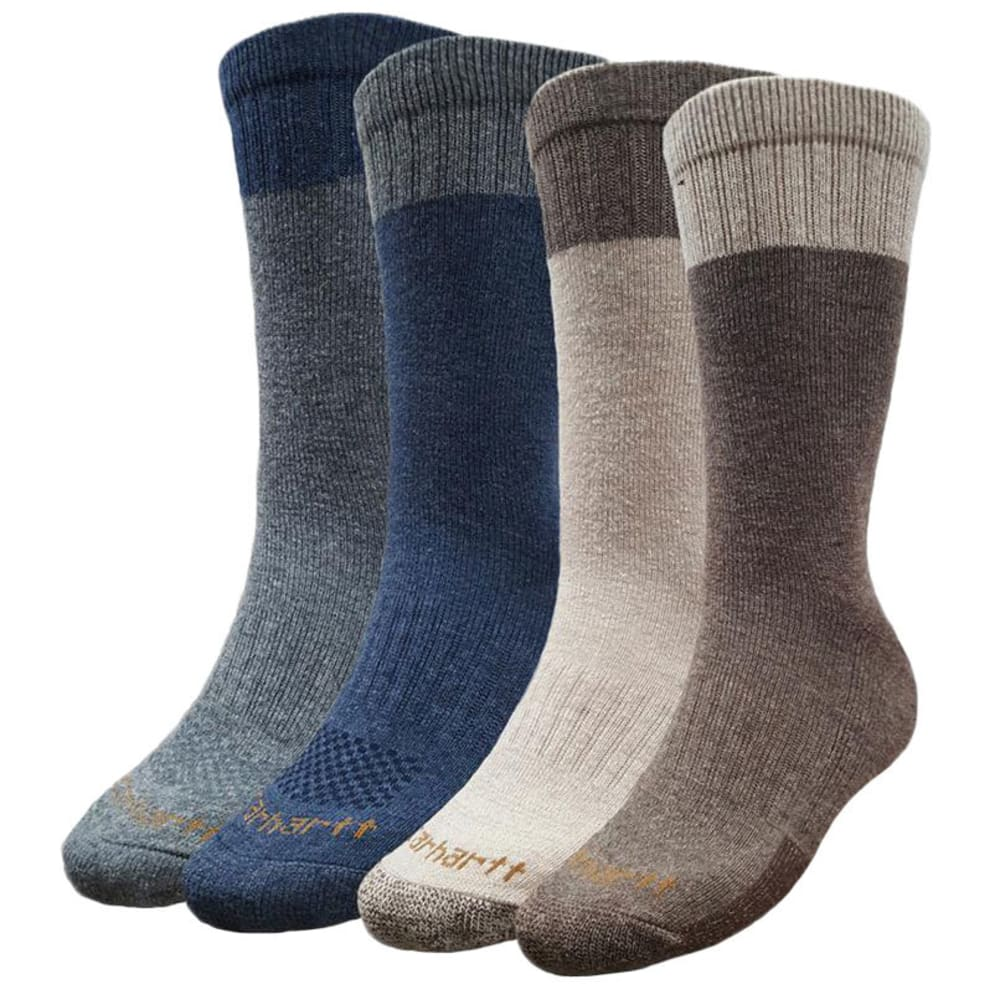 CARHARTT Men's All-Season Crew Work Socks, 4 Pack - BROWN/NAVY- BRN/NAVY