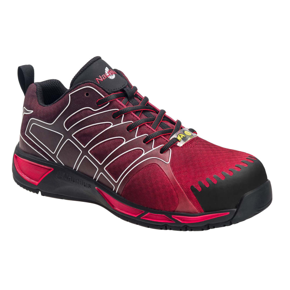 NAUTILUS Men's Advanced ESD Composite Fiber Safety Toe Athletic Work Shoes, Red, Wide - RED