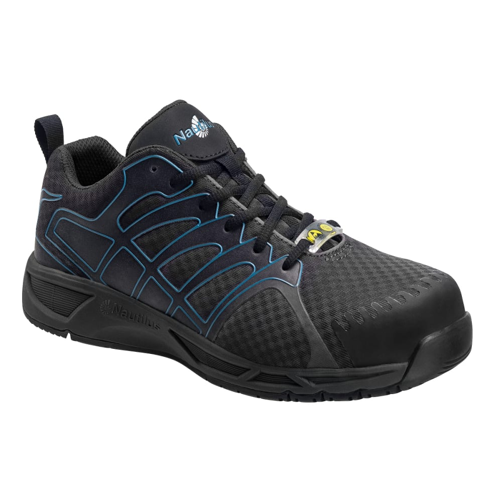 NAUTILUS Men's Advanced ESD Composite Fiber Safety Toe Athletic Work Shoes, Grey, Wide - GREY
