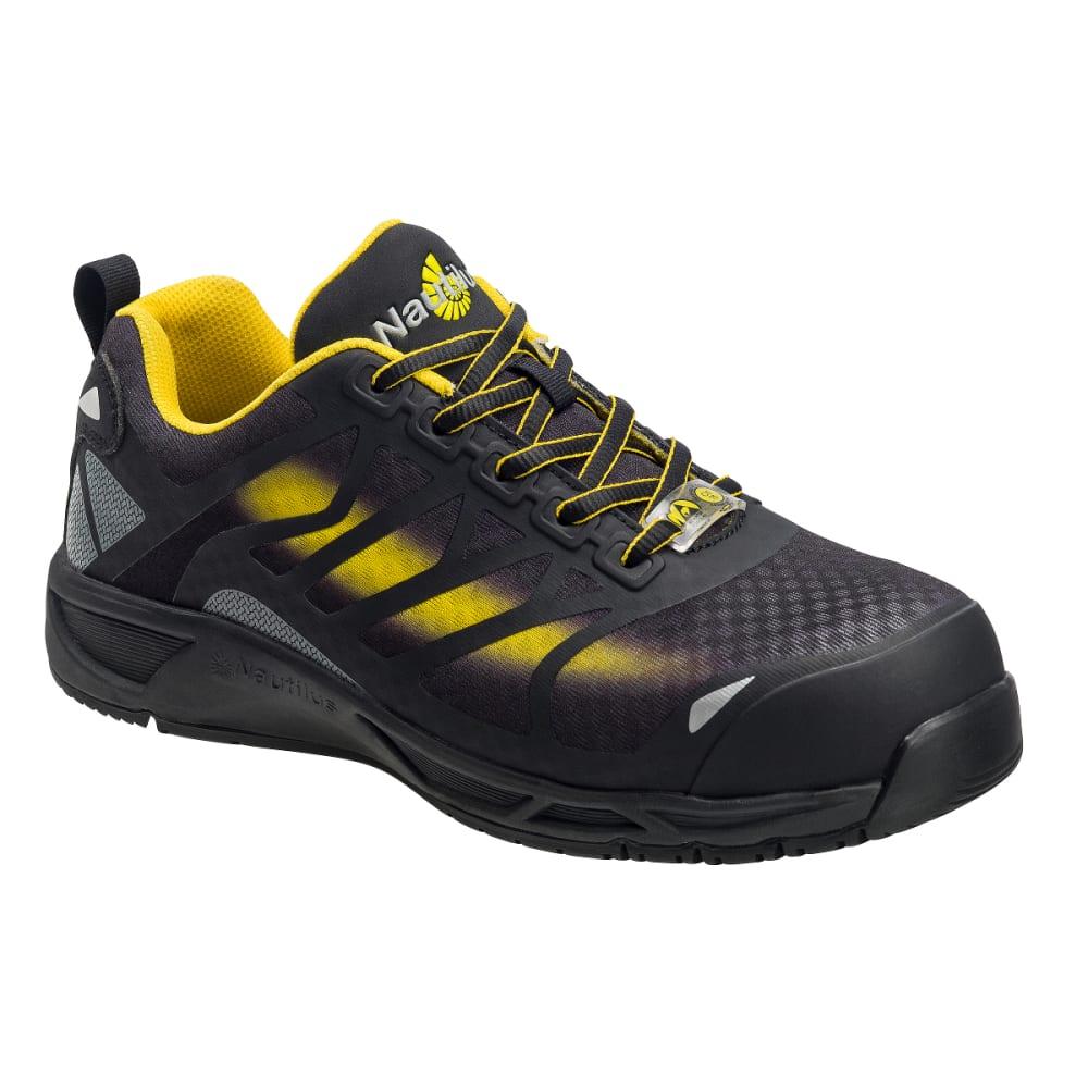 NAUTILUS Men's Advanced ESD Composite Fiber Safety Toe Athletic Work Shoes, Black, Wide - BLACK
