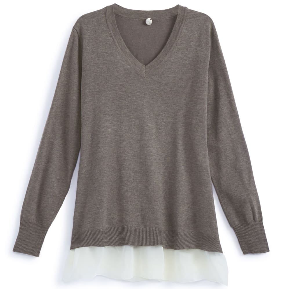 THYME & HONEY Women's Chiffon Hem V-Neck Top - MUSHROOM HTR/IVR HEM