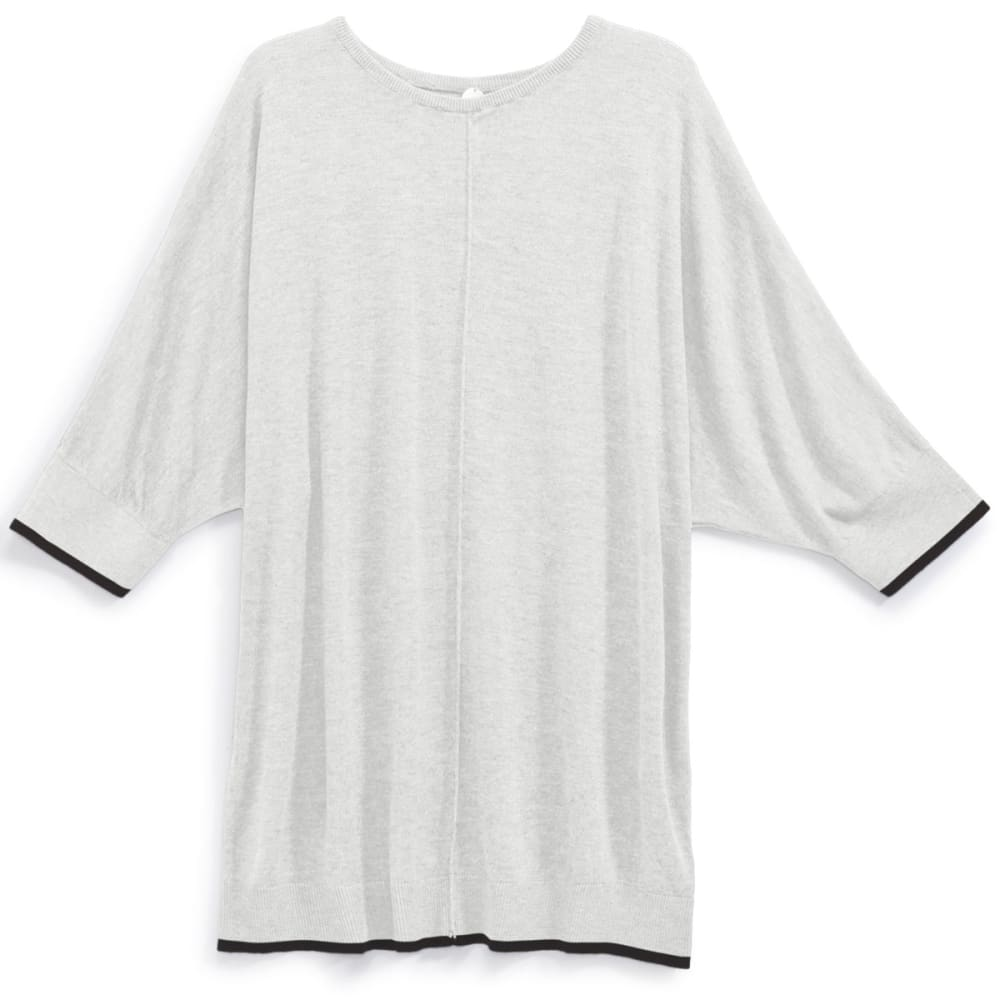 THYME & HONEY Women's Dolman Sweater - WHITE HTR / BLK TIP