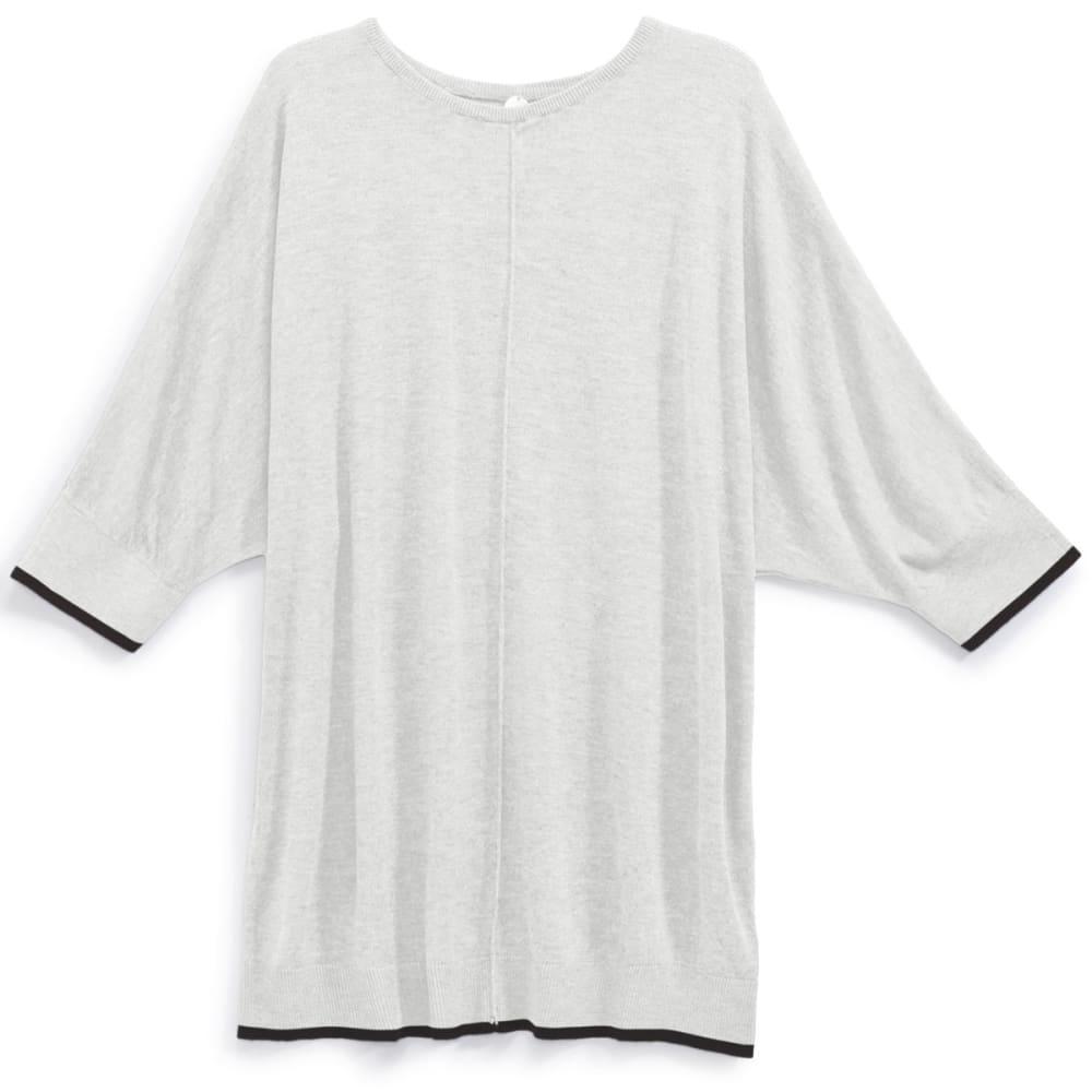 THYME & HONEY Women's Dolman Sweater - WHITE HTR / BLK TIP