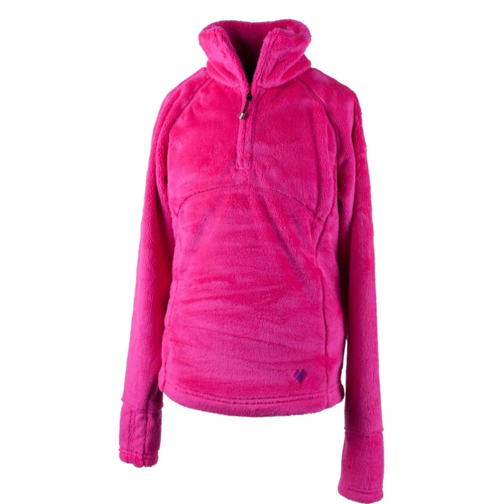 OBERMEYER Girls' Furry Fleece Top - ELECTRIC PINK