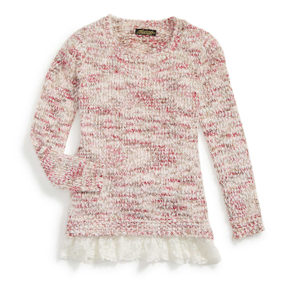 ABSOLUTELY FAMOUS Women's Popcorn Eyelash Sweater with Lace Hem - PINK/TAUPE COMBO