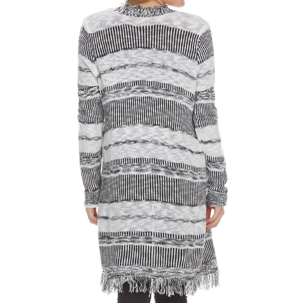 ABSOLUTELY FAMOUS Women's Striped Fringe Hem Cardigan - BLACK/IVORY COMBO
