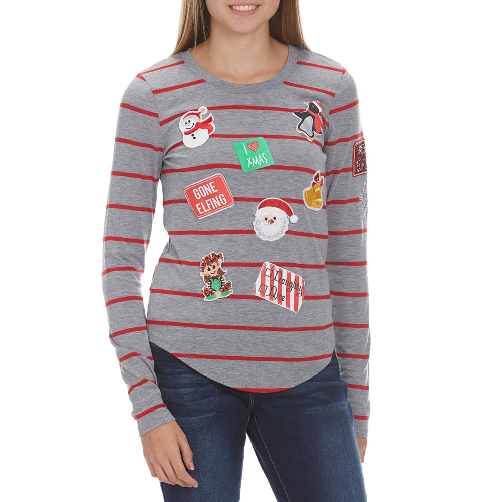 POOF Juniors' Christmas Patches Striped Crew Tee - HEATHR GREY COMBO