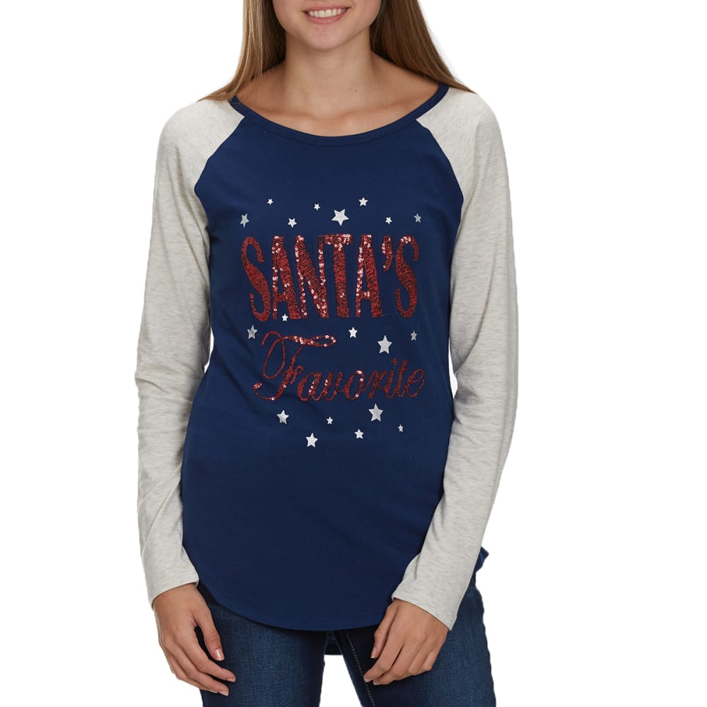 POOF Juniors' Santa's Favorite Long-Sleeve Tunic Top - PEACOAT NAVY